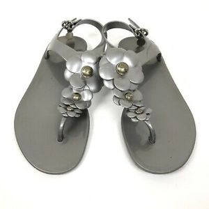 Coach Jelly Gunmetal Silver Haylee Floral Sandals